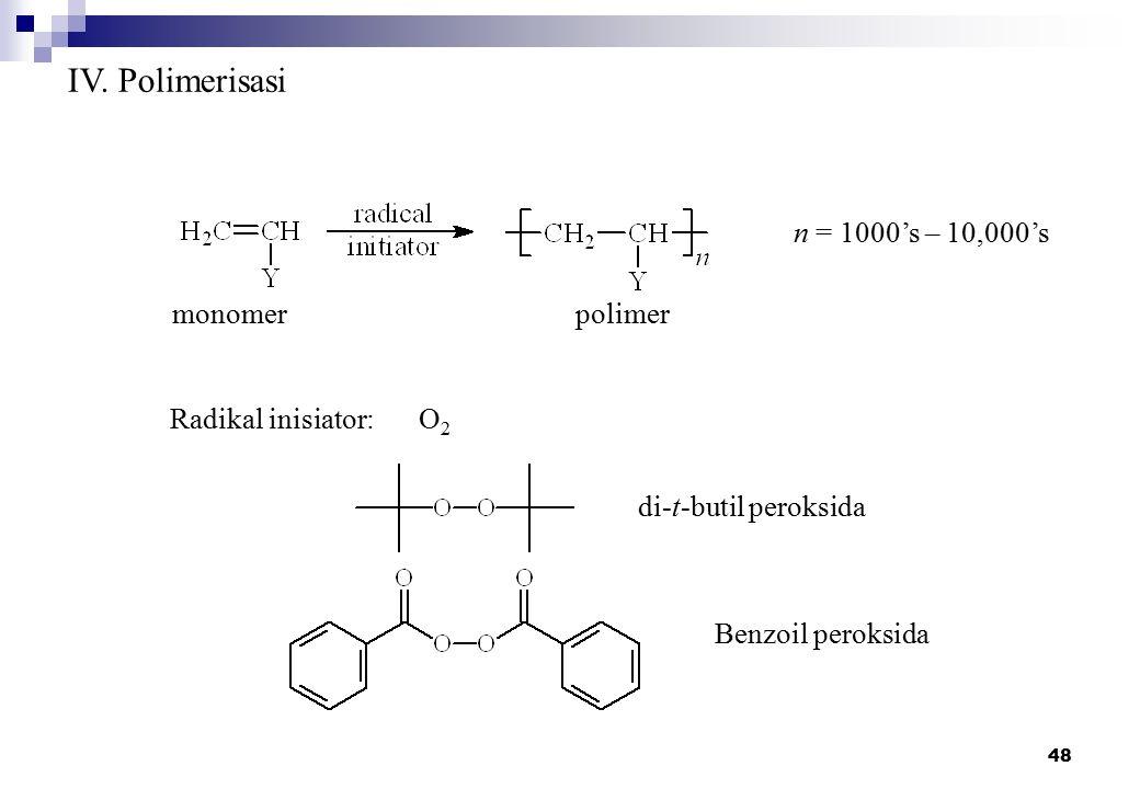 IV. Polimerisasi n = 1000's – 10,000's monomer polimer
