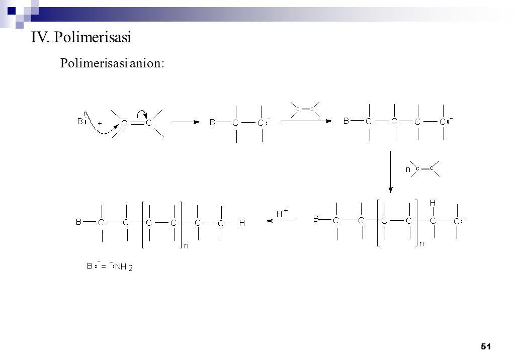 IV. Polimerisasi Polimerisasi anion: