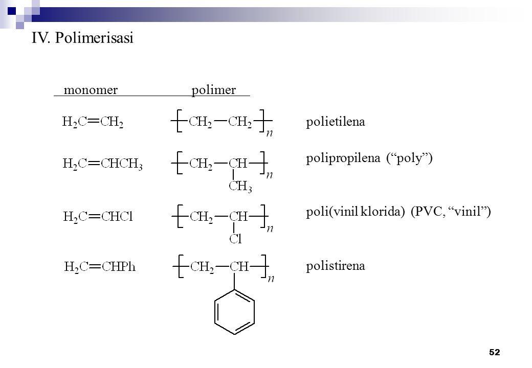 IV. Polimerisasi monomer polimer polietilena polipropilena ( poly )