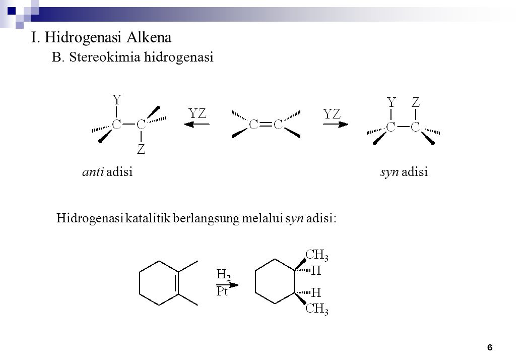 I. Hidrogenasi Alkena B. Stereokimia hidrogenasi anti adisi syn adisi