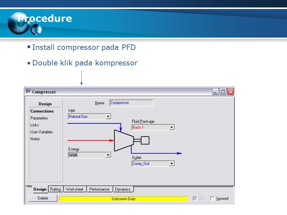 Procedure Install compressor pada PFD Double klik pada kompressor