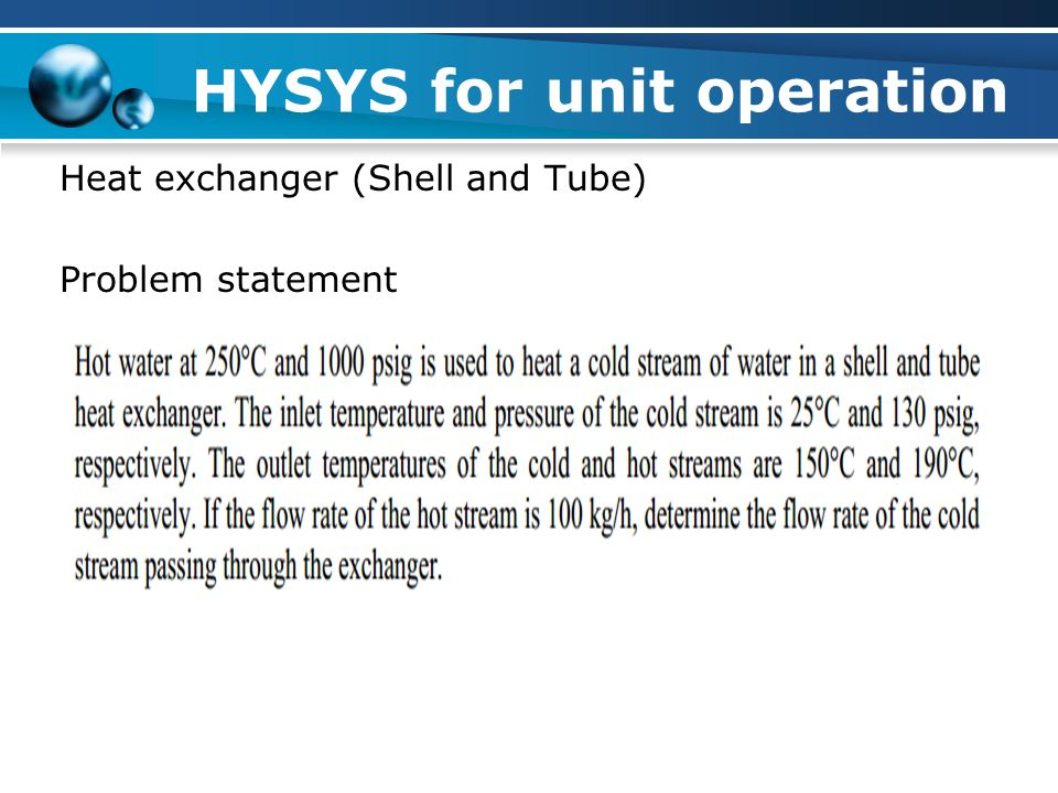 HYSYS for unit operation