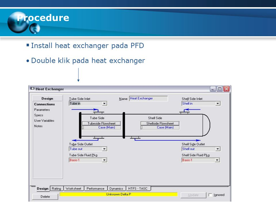 Procedure Install heat exchanger pada PFD