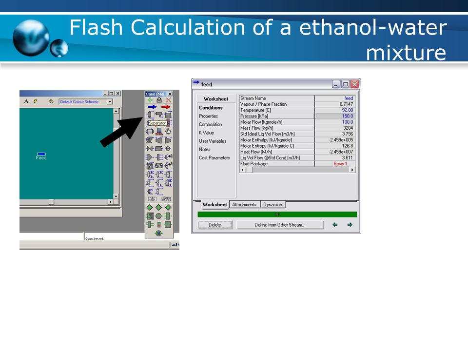 Flash Calculation of a ethanol-water mixture
