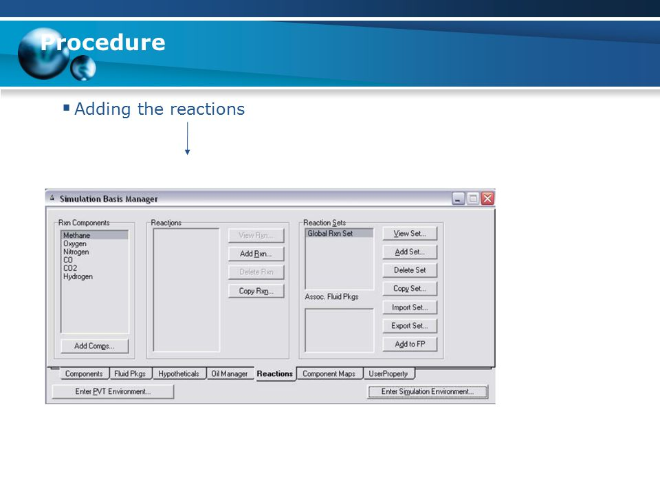 Procedure Adding the reactions