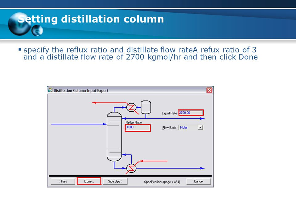 Setting distillation column