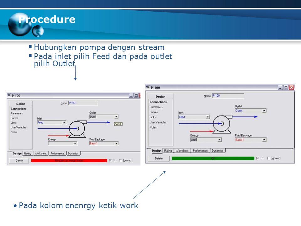 Procedure Hubungkan pompa dengan stream