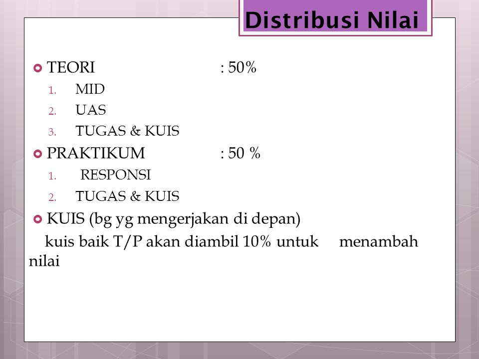 Distribusi Nilai TEORI : 50% PRAKTIKUM : 50 %