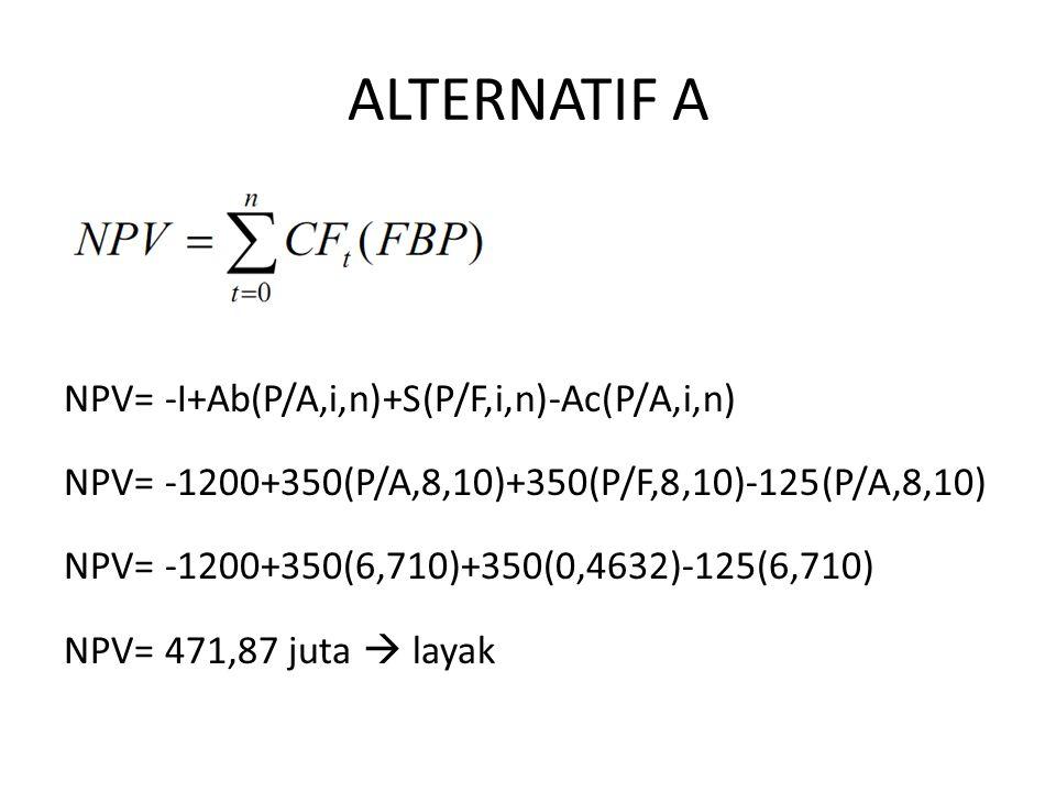 ALTERNATIF A NPV= -I+Ab(P/A,i,n)+S(P/F,i,n)-Ac(P/A,i,n)
