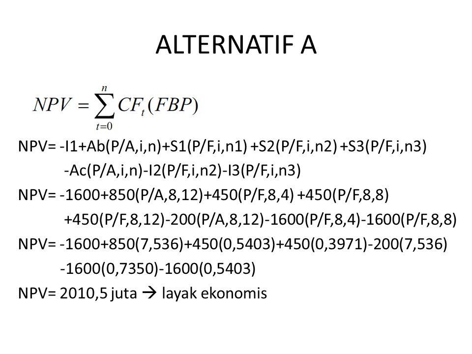 ALTERNATIF A NPV= -I1+Ab(P/A,i,n)+S1(P/F,i,n1) +S2(P/F,i,n2) +S3(P/F,i,n3) -Ac(P/A,i,n)-I2(P/F,i,n2)-I3(P/F,i,n3)