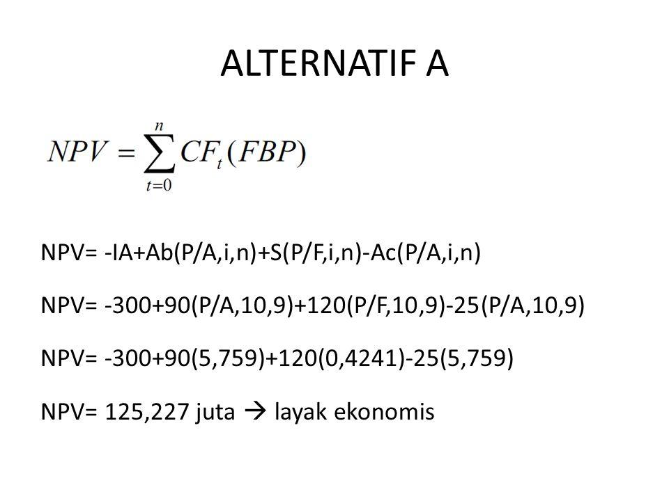 ALTERNATIF A NPV= -IA+Ab(P/A,i,n)+S(P/F,i,n)-Ac(P/A,i,n)