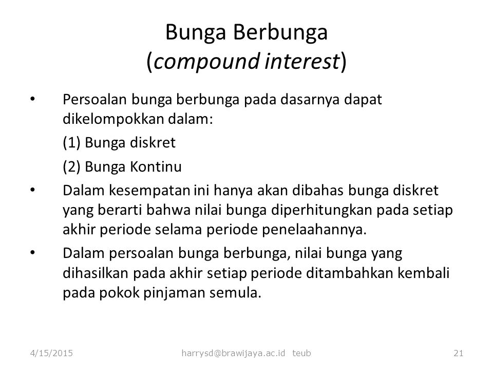 Bunga Berbunga (compound interest)