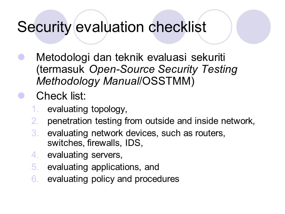 Security evaluation checklist