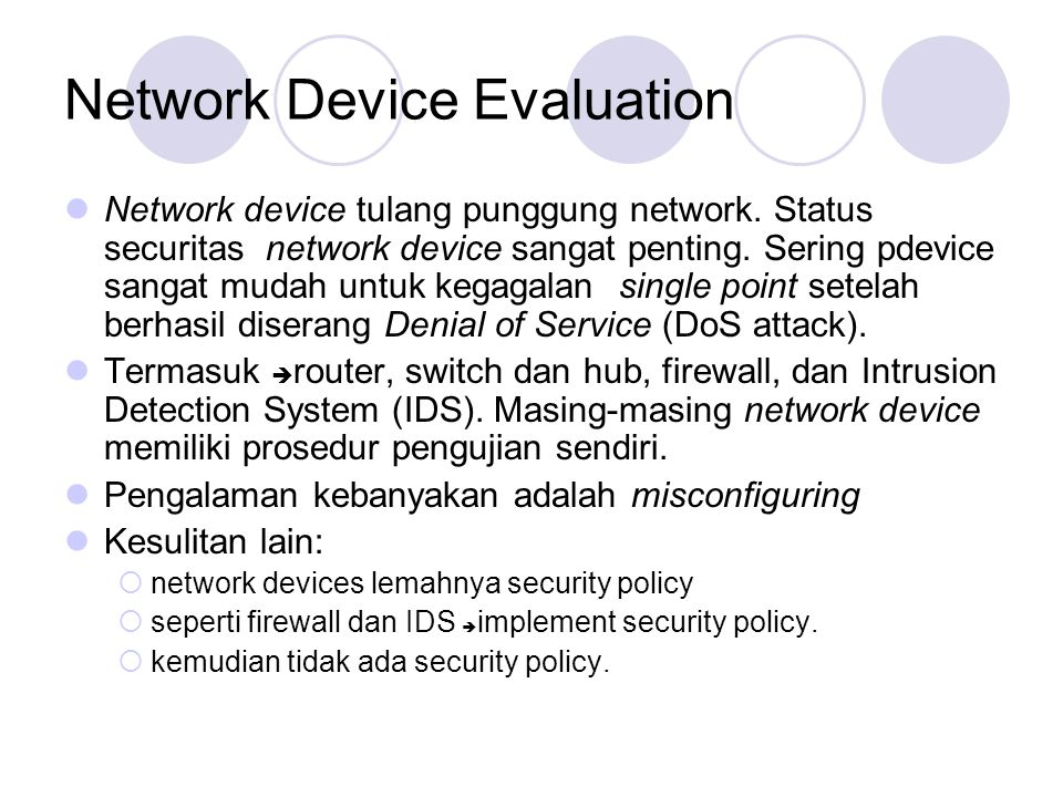 Network Device Evaluation