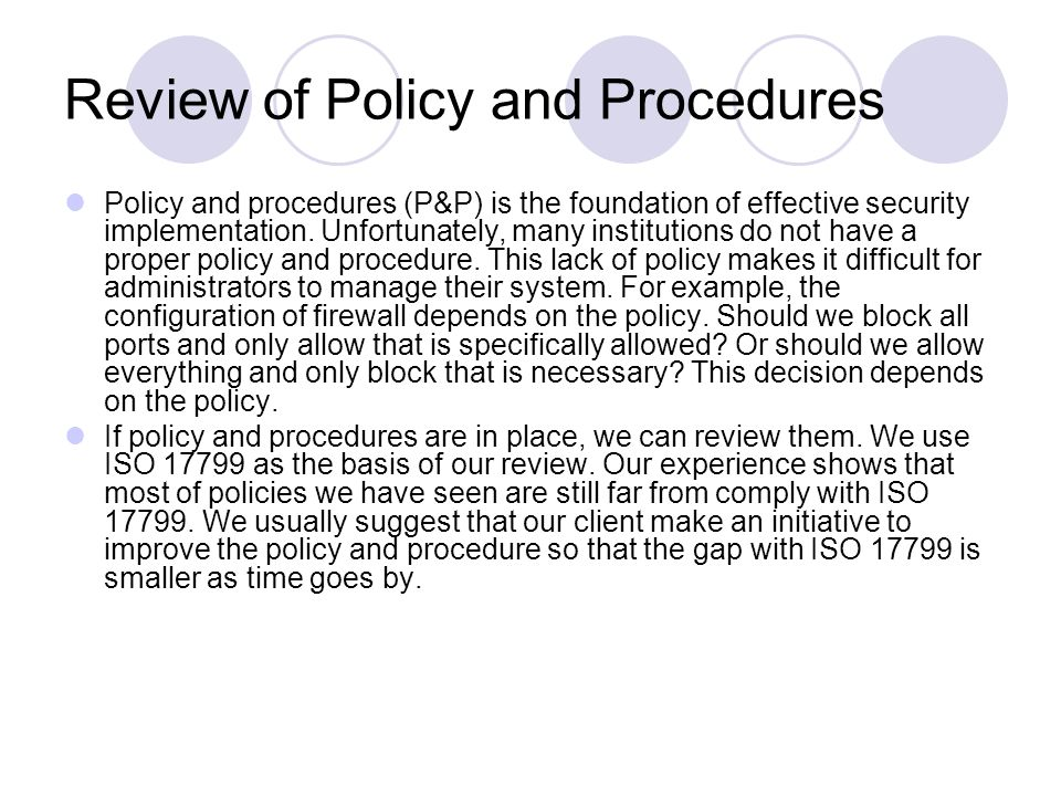 Review of Policy and Procedures