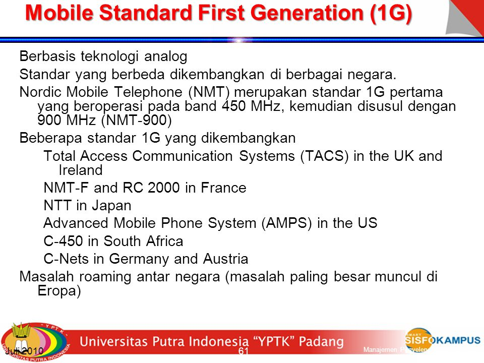 Mobile Standard First Generation (1G)