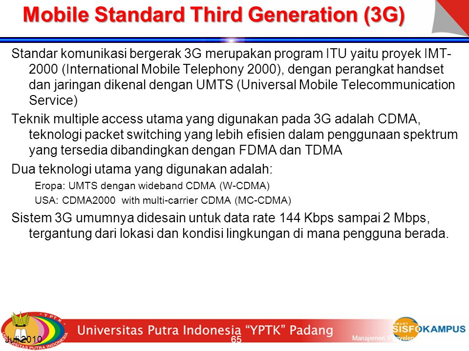 Mobile Standard Third Generation (3G)