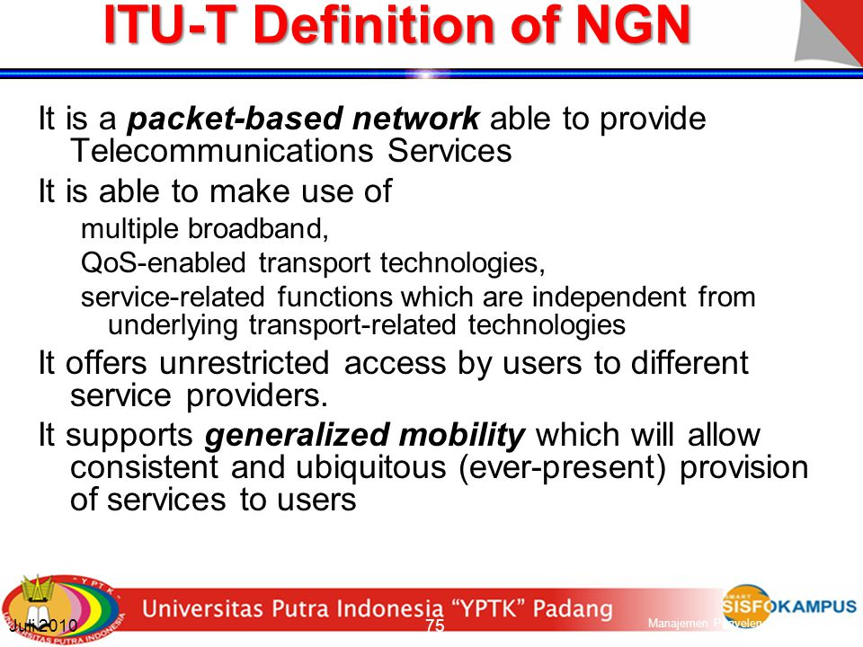 ITU-T Definition of NGN