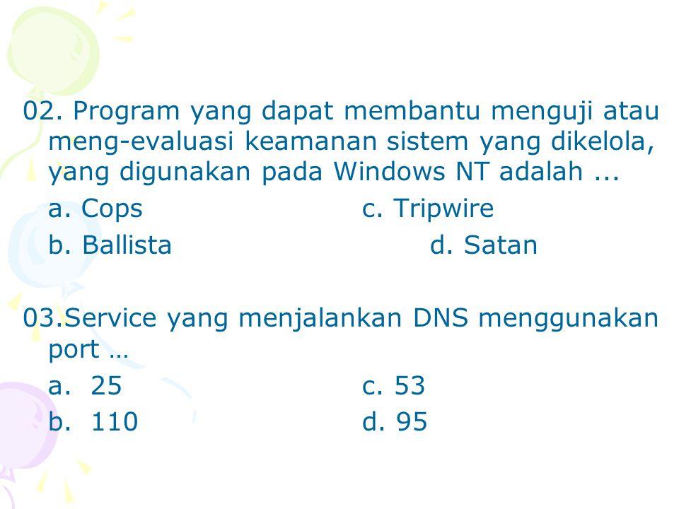 02. Program yang dapat membantu menguji atau meng-evaluasi keamanan sistem yang dikelola, yang digunakan pada Windows NT adalah ...