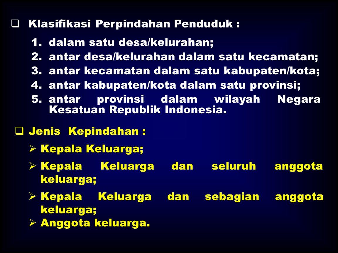 Klasifikasi Perpindahan Penduduk :