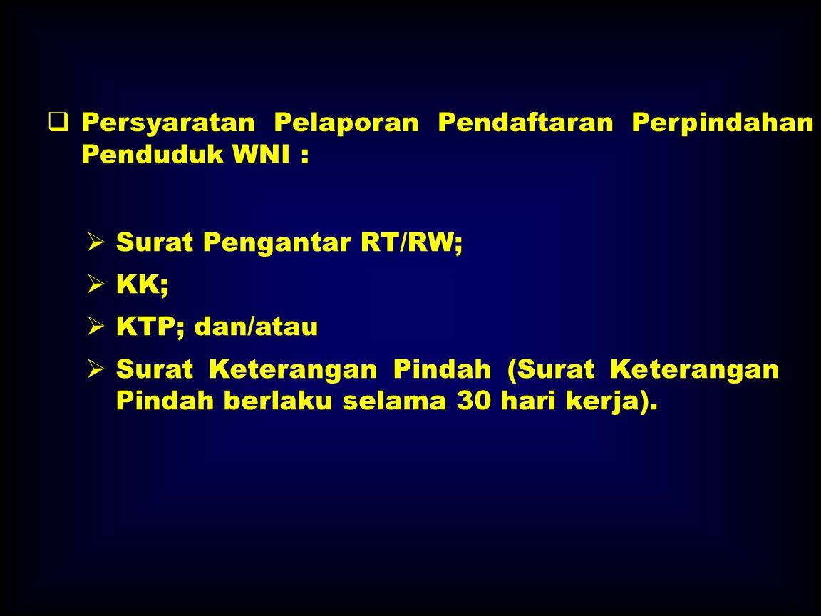 Persyaratan Pelaporan Pendaftaran Perpindahan Penduduk WNI :
