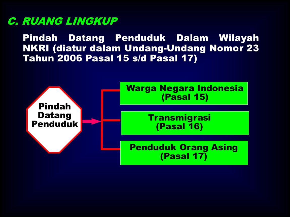 C. RUANG LINGKUP Pindah Datang Penduduk Dalam Wilayah NKRI (diatur dalam Undang-Undang Nomor 23 Tahun 2006 Pasal 15 s/d Pasal 17)