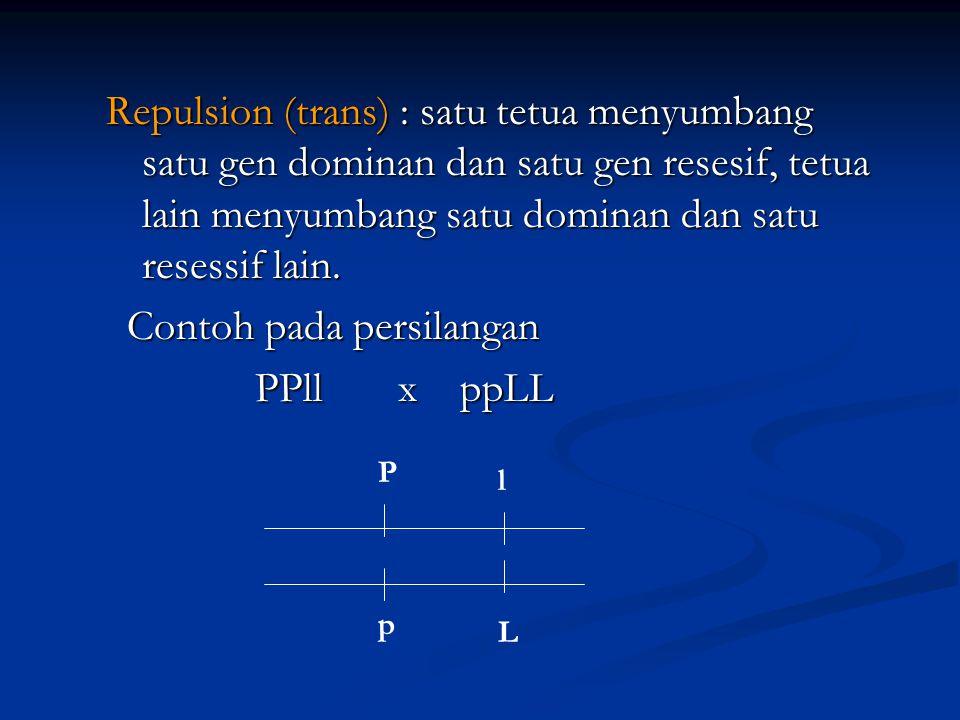 Contoh pada persilangan PPll x ppLL