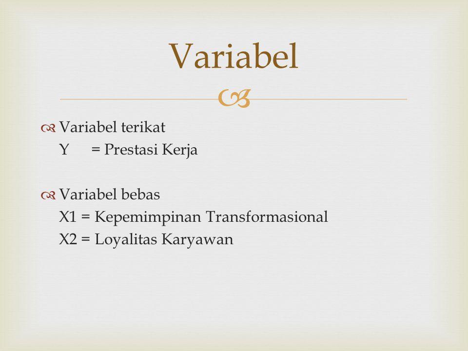 Variabel Variabel terikat Y = Prestasi Kerja Variabel bebas