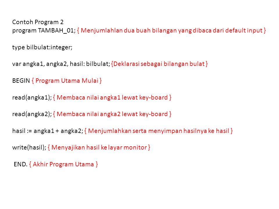 Contoh Program 2 program TAMBAH_01; { Menjumlahlan dua buah bilangan yang dibaca dari default input }