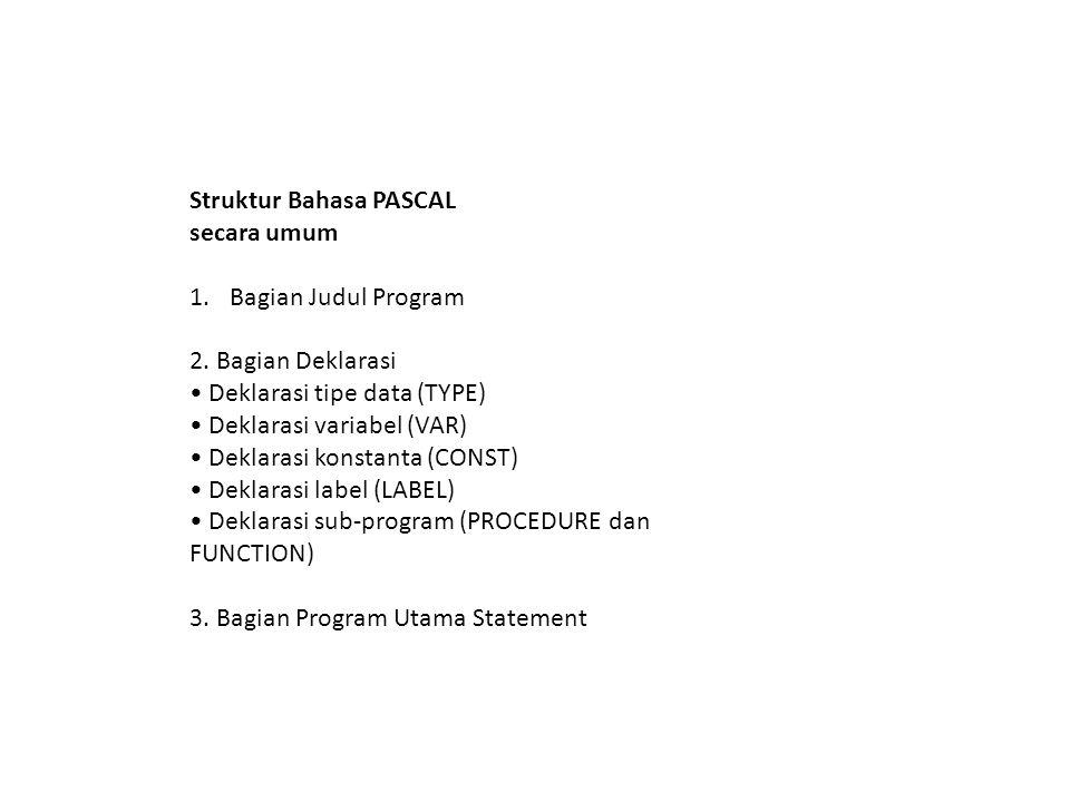 Struktur Bahasa PASCAL