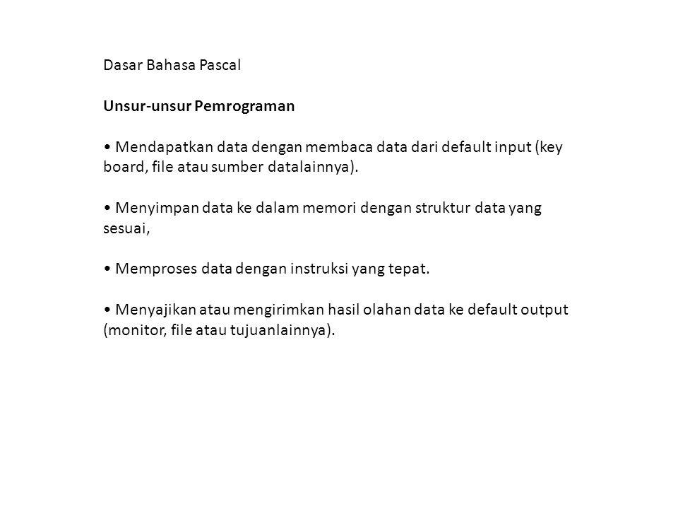 Dasar Bahasa Pascal Unsur-unsur Pemrograman. • Mendapatkan data dengan membaca data dari default input (key board, file atau sumber datalainnya).