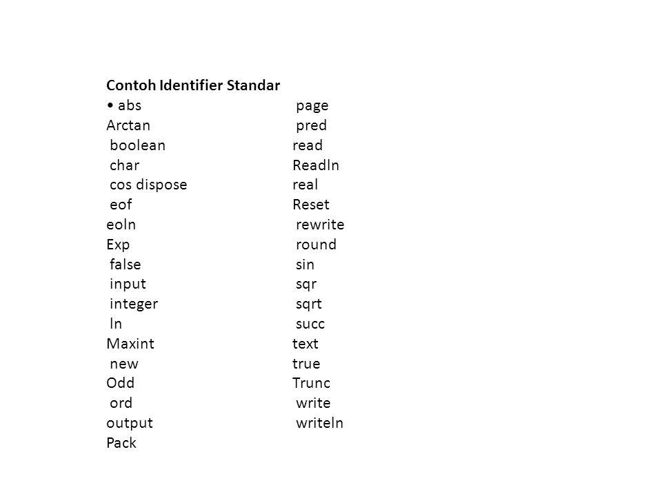 Contoh Identifier Standar