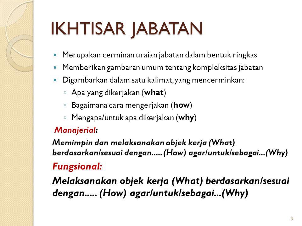 IKHTISAR JABATAN Fungsional: