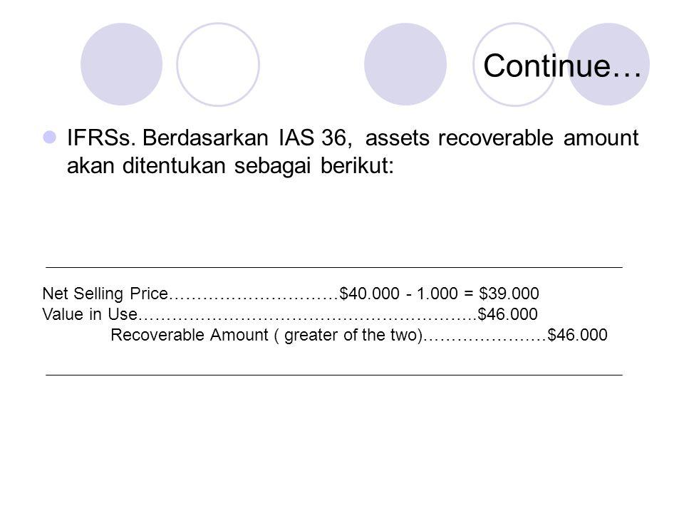 Continue… IFRSs. Berdasarkan IAS 36, assets recoverable amount akan ditentukan sebagai berikut: