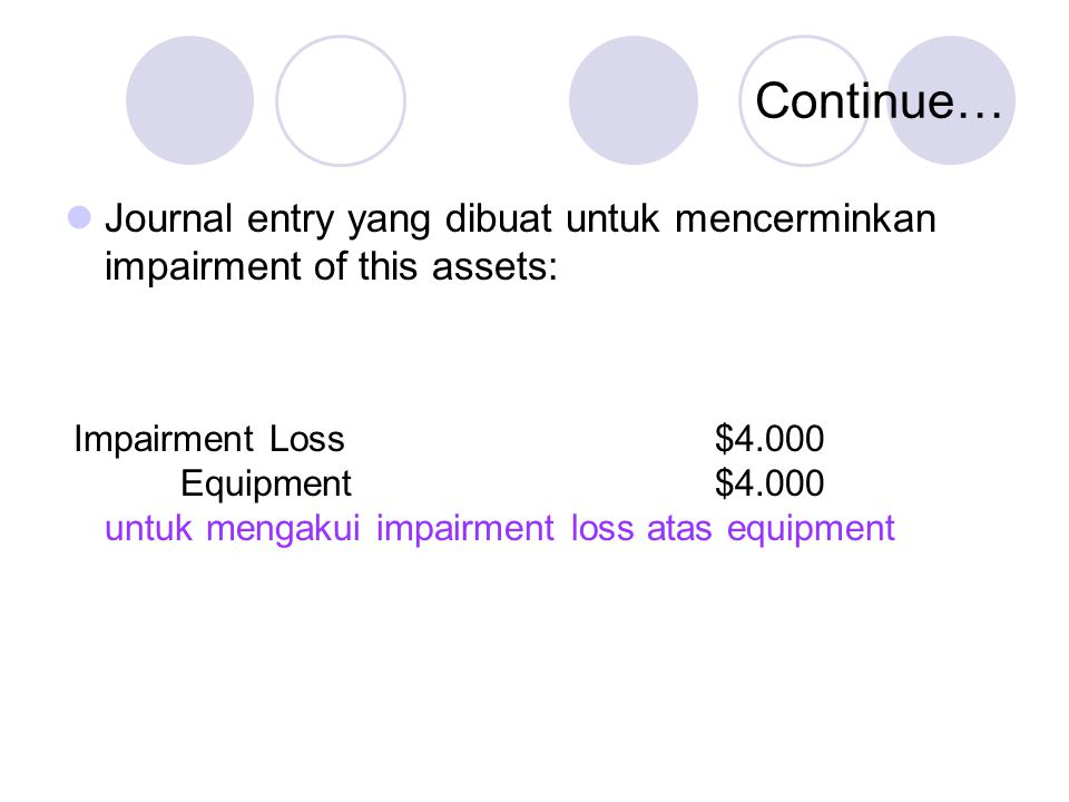 Continue… Journal entry yang dibuat untuk mencerminkan impairment of this assets: Impairment Loss $4.000.