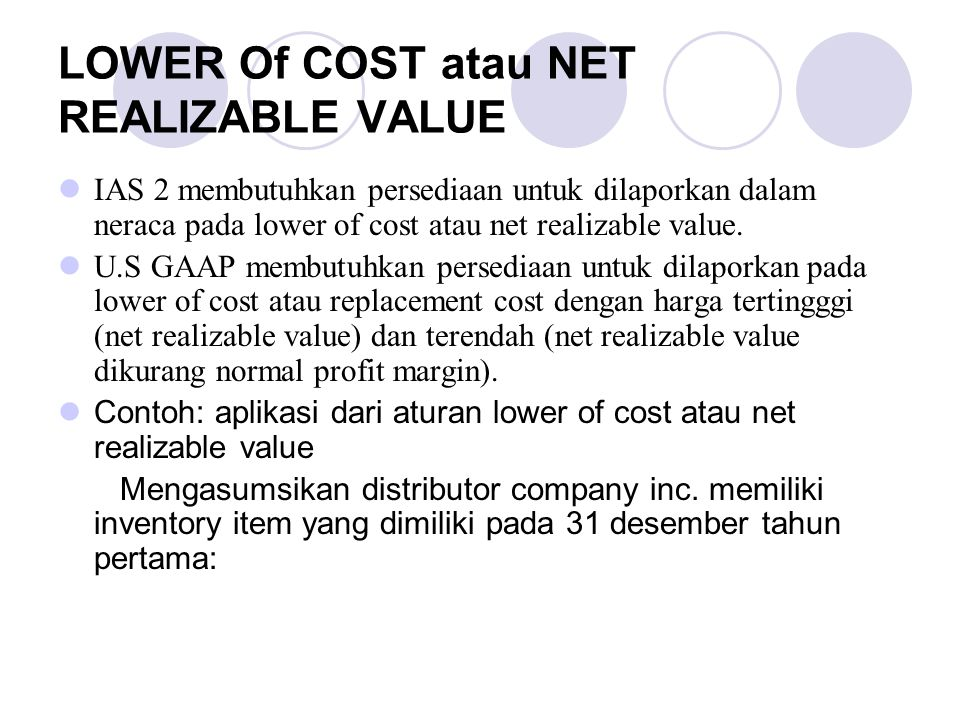 LOWER Of COST atau NET REALIZABLE VALUE