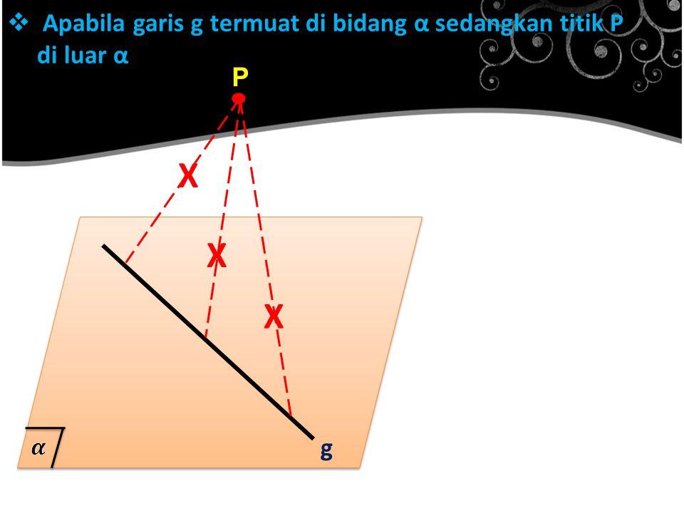 Apabila garis g termuat di bidang α sedangkan titik P di luar α
