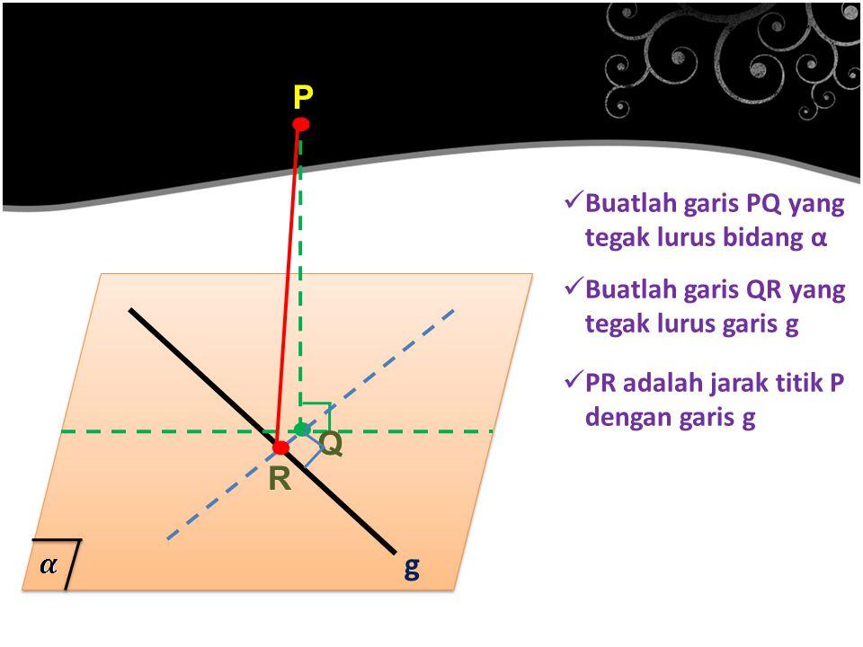 . . . P Q R g Buatlah garis PQ yang tegak lurus bidang α