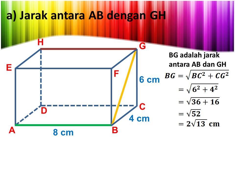 a) Jarak antara AB dengan GH
