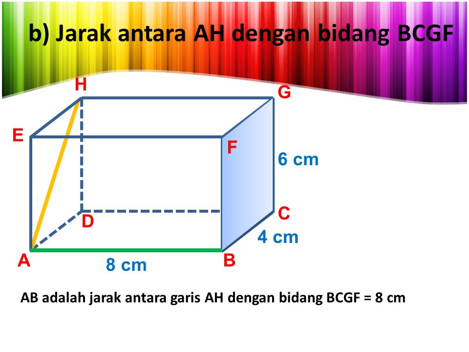 b) Jarak antara AH dengan bidang BCGF