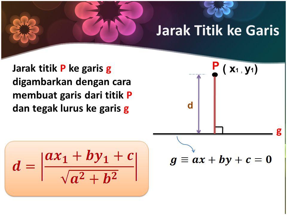 Jarak Titik ke Garis . P. Jarak titik P ke garis g digambarkan dengan cara membuat garis dari titik P dan tegak lurus ke garis g.
