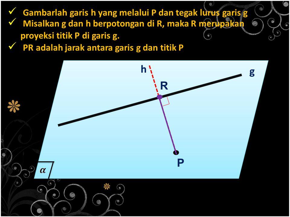 . . Gambarlah garis h yang melalui P dan tegak lurus garis g