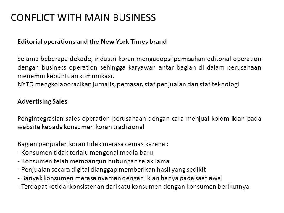 CONFLICT WITH MAIN BUSINESS