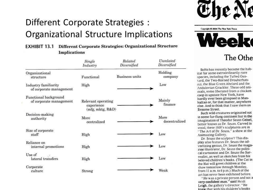 Different Corporate Strategies :