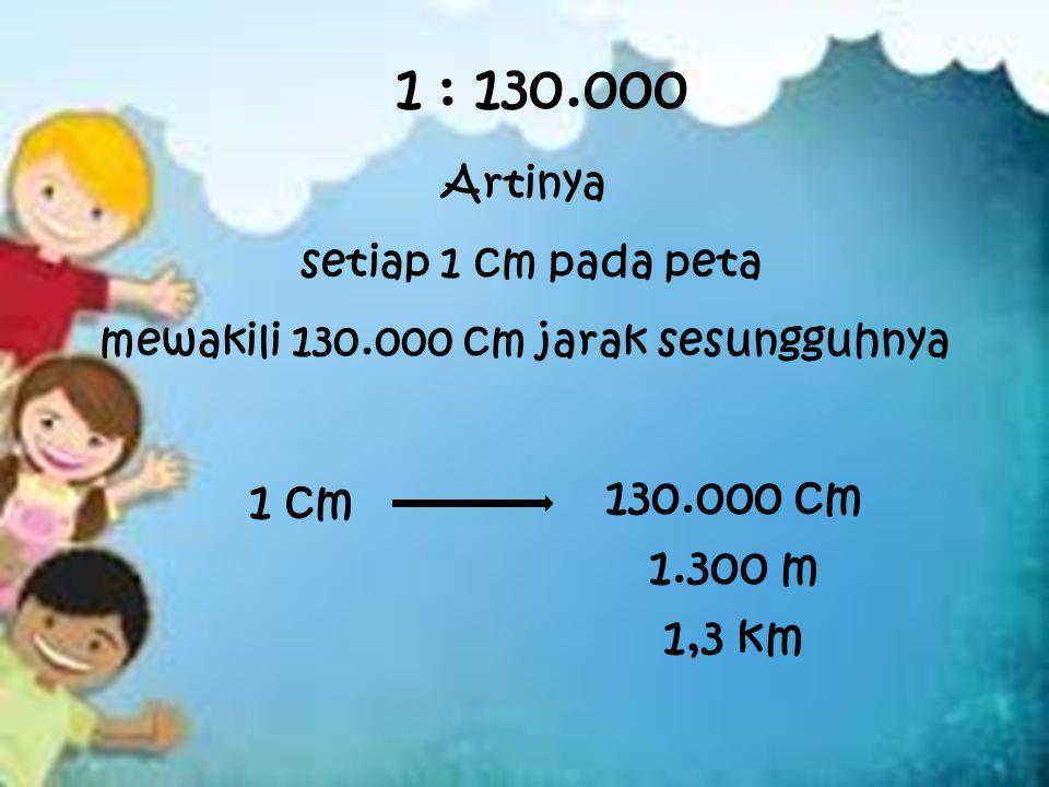 mewakili 130.000 cm jarak sesungguhnya