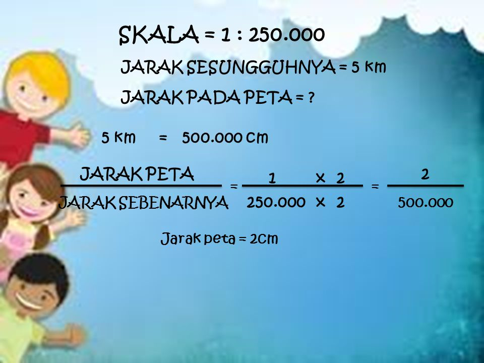 JARAK SESUNGGUHNYA = 5 km