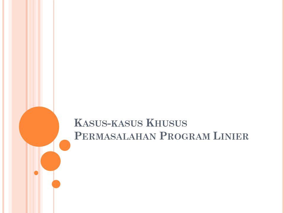 Kasus-kasus Khusus Permasalahan Program Linier
