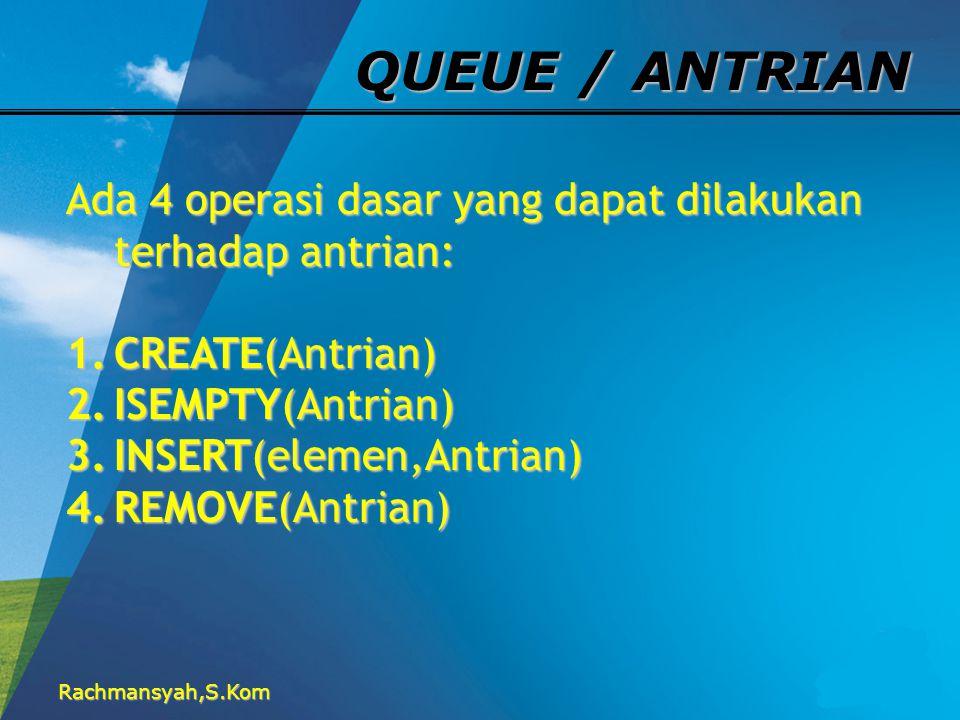 QUEUE / ANTRIAN Ada 4 operasi dasar yang dapat dilakukan terhadap antrian: CREATE(Antrian) ISEMPTY(Antrian)