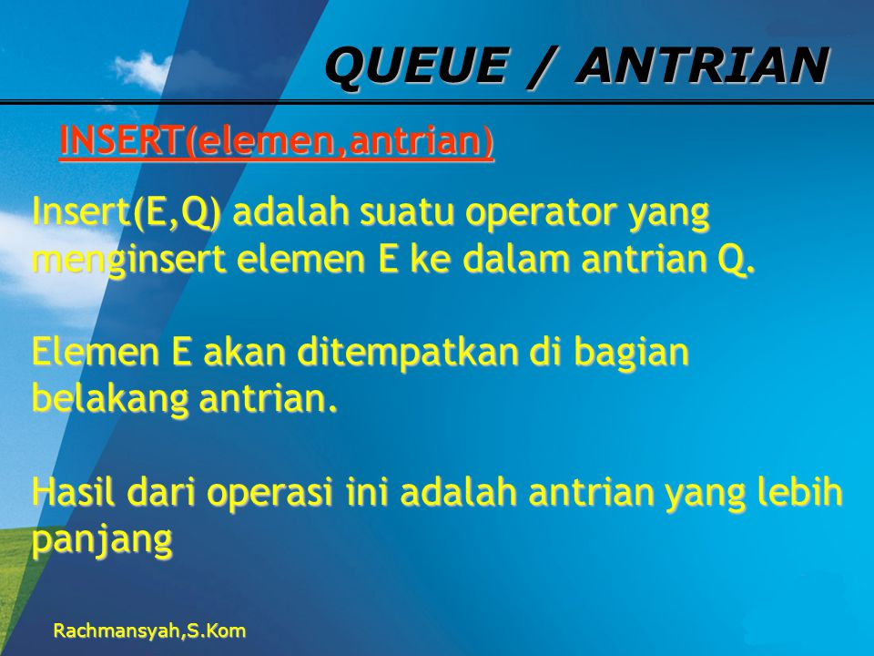 QUEUE / ANTRIAN INSERT(elemen,antrian)