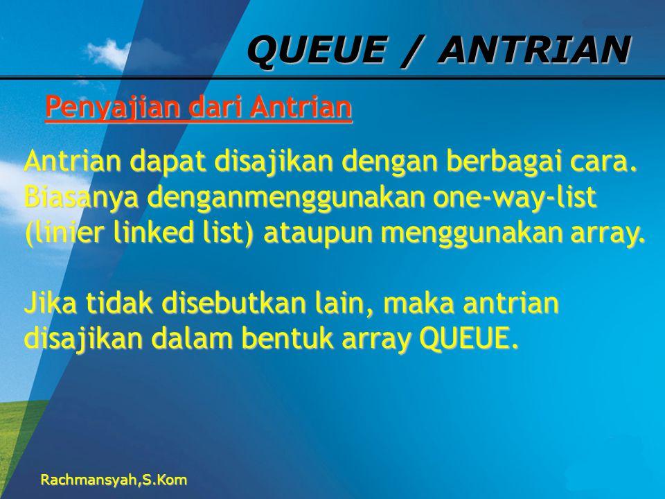 QUEUE / ANTRIAN Penyajian dari Antrian